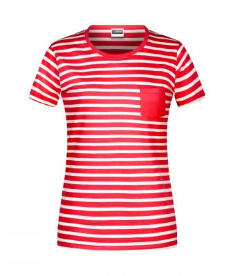 Damen Ladies' T-Shirt Striped Red/white 8661
