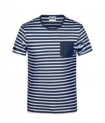 Herren Men's T-Shirt Striped Navy/white 8662