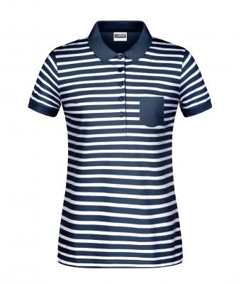 Damen Ladies' Polo Striped Navy/white 8663