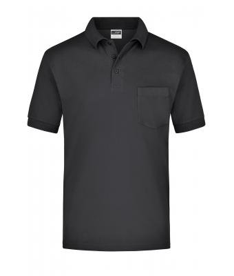 Herren Polo-Piqué Pocket Black 7204