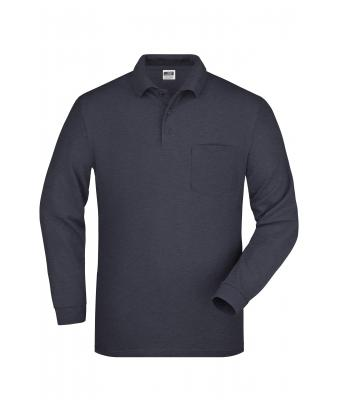 Men Polo Piqué Long-Sleeved Anthracite 7994