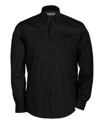 Herren Buttondown Shirt Long Black 7235