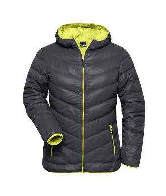 Damen Ladies' Down Jacket Carbon/acid-yellow 8102