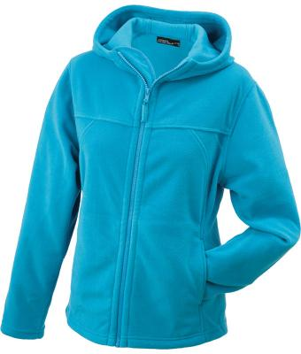 Ladies Girly Microfleece Jacket Hooded Turquoise 7312