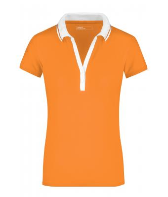 Ladies Ladies' Elastic Polo Short-Sleeved Orange/white 7317