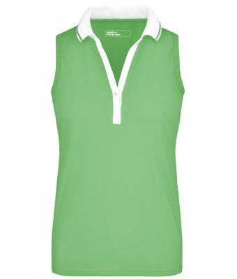 Damen Ladies' Elastic Polo Sleeveless Lime-green/white 7318