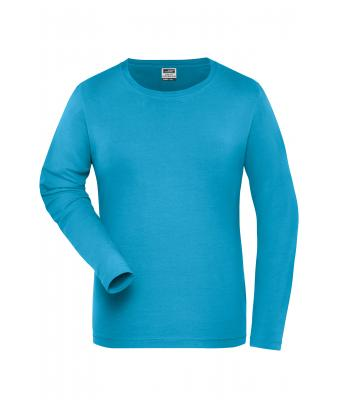 Donna Ladies' BIO Stretch-Longsleeve Work - SOLID - Turquoise 8706