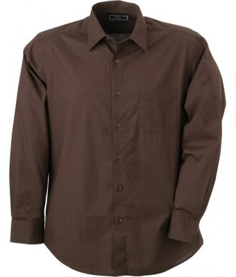 Men Men's Shirt Classic Fit Long Brown 7338