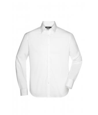 Men Men's Shirt Slim Fit Long White 7340