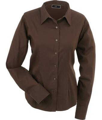 Ladies Ladies' Blouse Slim Fit Long Brown 7341