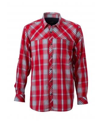 Men Men's UV-Protect Trekking Shirt Long-Sleeved Red/navy 8035