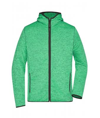 Herren Men's Knitted Fleece Hoody Green-melange/black 8044
