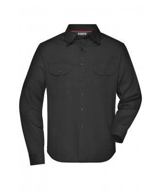 Herren Men's Travel Shirt Roll-up Sleeves Black 7528