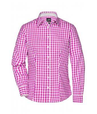 Damen Ladies' Checked Blouse Purple/white 8053
