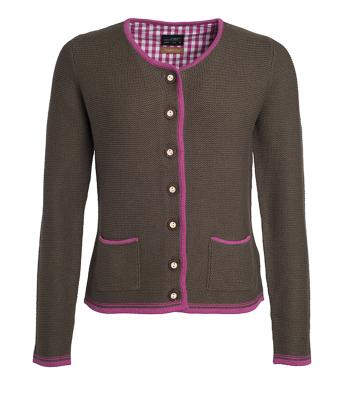 Donna Ladies' Traditional Knitted Jacket Brown-melange/purple/purple 8486