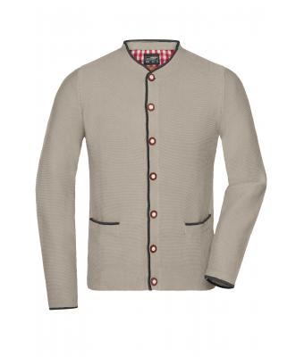 Uomo Men's Traditional Knitted Jacket Beige/anthracite-melange/red 8487