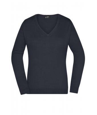 Damen Ladies' V-Neck Pullover Black 8059
