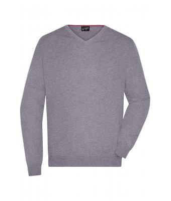 Herren Men's V-Neck Pullover Grey-heather 8060