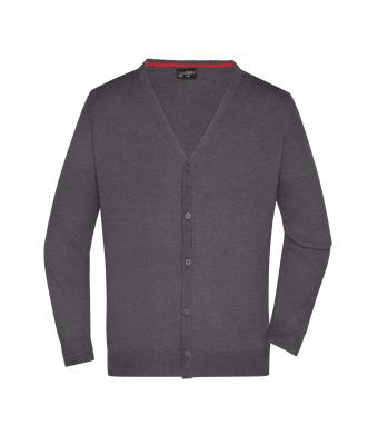 Herren Men's V-Neck Cardigan Anthracite-melange 8062
