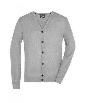 Herren Men's Cardigan Light-grey-melange 8368