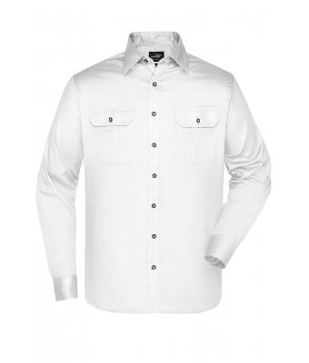 Herren Men's Traditional Shirt Plain White 8489