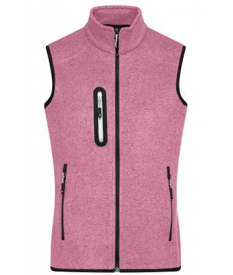 Damen Ladies' Knitted Fleece Vest Pink-melange/off-white 8490