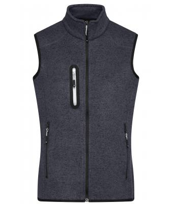 Herren Men's Knitted Fleece Vest Dark-grey-melange/silver 8491