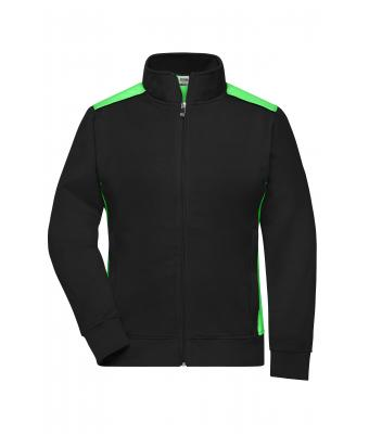 Damen Ladies' Workwear Sweat Jacket-Level 2 Black/lime-green 8543