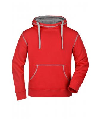Herren Men's Lifestyle Hoody Red/grey-heather 8080