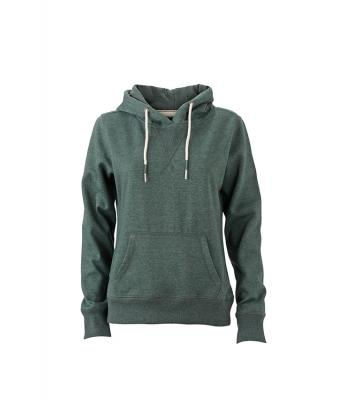 Damen Ladies' Hoody Dusty-green-melange 8263
