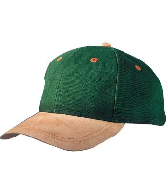 Unisex 6 Panel Cap with Suede Peak Dark-green/beige 7584