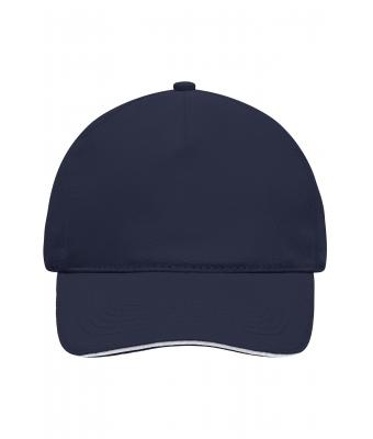 Unisex 5 Panel Sandwich Cap Navy/white 7593