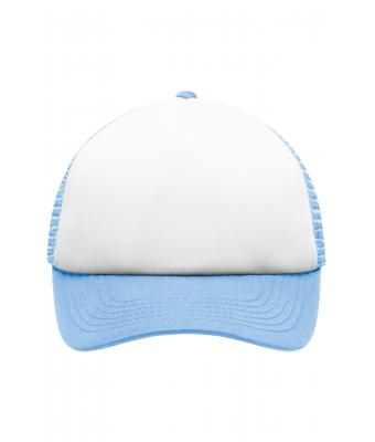Kids 5 Panel Polyester Mesh Cap for Kids White/light-blue 7623