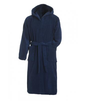 Unisex Bath Robe Hooded Dark-navy 7672