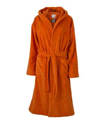 Unisex Functional Bath Robe Hooded Dark-orange 8011