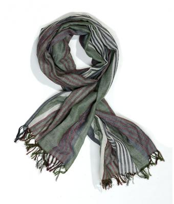 Unisex Striped Scarf Olive striped 8284
