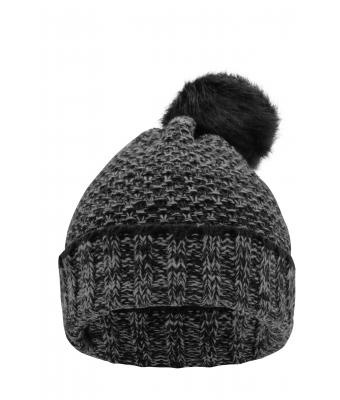 Damen Ladies' Melange Beanie Coal-black/grey 8510