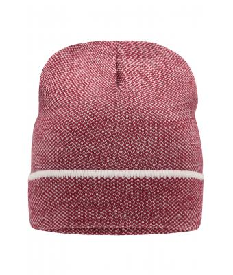 Unisex Elegant Knitted Beanie Indian-red/white 8513